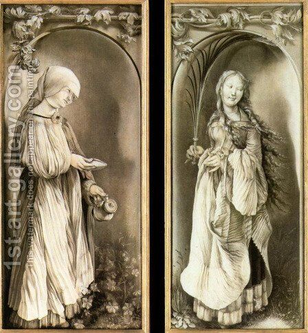 St Elizabeth and a Saint Woman with Palm 1508-11 by Matthias Grunewald (Mathis Gothardt) - Reproduction Oil Painting