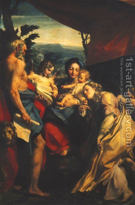 Madonna and Child with Sts Jerome and Mary Magdalen (The Day) 1525 by Correggio (Antonio Allegri) - Reproduction Oil Painting
