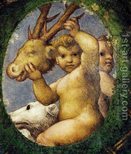 Putto With Hunting Trophy by Correggio (Antonio Allegri) - Reproduction Oil Painting