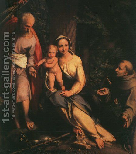 The Rest on the Flight to Egypt with Saint Francis 1517, by Correggio (Antonio Allegri) - Reproduction Oil Painting