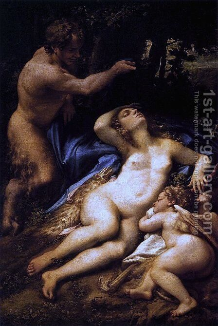 Venus and Cupid with a Satyr 1528 by Correggio (Antonio Allegri) - Reproduction Oil Painting