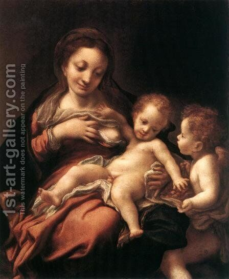 Virgin And Child With An Angel (Madonna Del Latte) by Correggio (Antonio Allegri) - Reproduction Oil Painting
