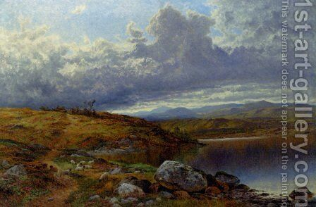 A Solitary Lake  Wales by Benjamin Williams Leader - Reproduction Oil Painting