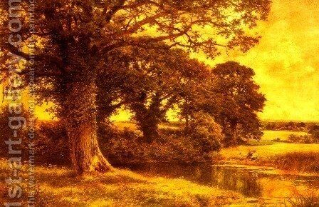 A Woodland Pool by Benjamin Williams Leader - Reproduction Oil Painting
