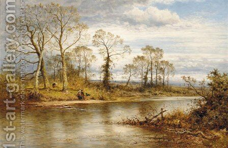 An English River In Autumn by Benjamin Williams Leader - Reproduction Oil Painting