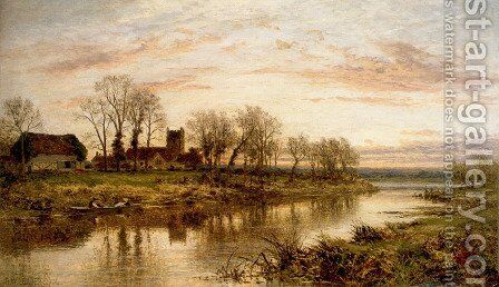 Evening On The Thames At Wargrave by Benjamin Williams Leader - Reproduction Oil Painting