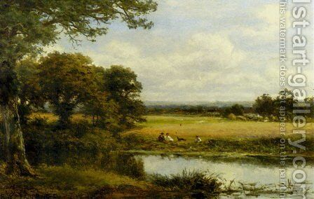 Surrey Cornfields by Benjamin Williams Leader - Reproduction Oil Painting