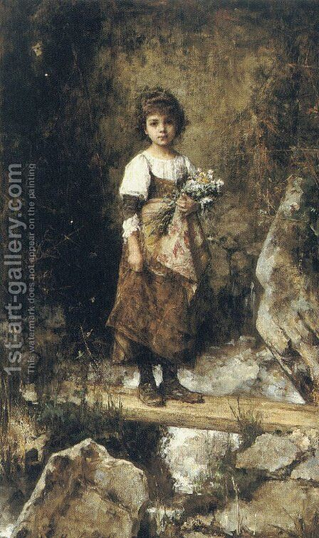 A Peasant Girl On A Footbridge by Alexei Alexeivich Harlamoff - Reproduction Oil Painting