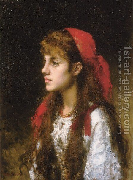 A Russian Beauty by Alexei Alexeivich Harlamoff - Reproduction Oil Painting