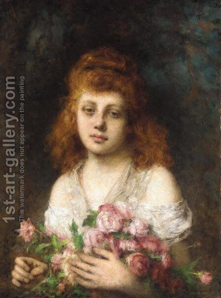 Auburn Haired Beauty With Bouqet Of Roses by Alexei Alexeivich Harlamoff - Reproduction Oil Painting
