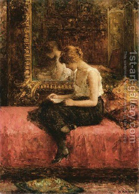 Literary Pursuits Of A Young Lady by Alexei Alexeivich Harlamoff - Reproduction Oil Painting