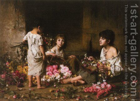The Flower Girls by Alexei Alexeivich Harlamoff - Reproduction Oil Painting