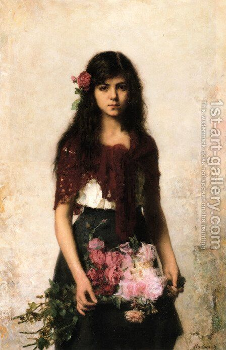 The Flower Seller by Alexei Alexeivich Harlamoff - Reproduction Oil Painting