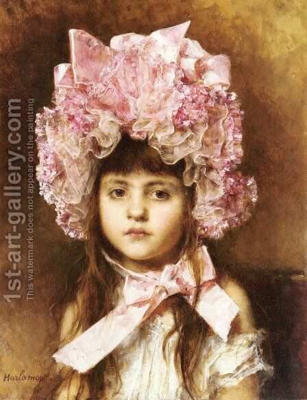 The Pink Bonnet by Alexei Alexeivich Harlamoff - Reproduction Oil Painting