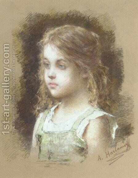 Young Girl In A Green Tunic by Alexei Alexeivich Harlamoff - Reproduction Oil Painting