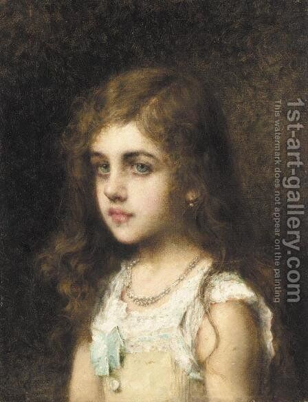 Young Girl With A Turquoise Bow by Alexei Alexeivich Harlamoff - Reproduction Oil Painting