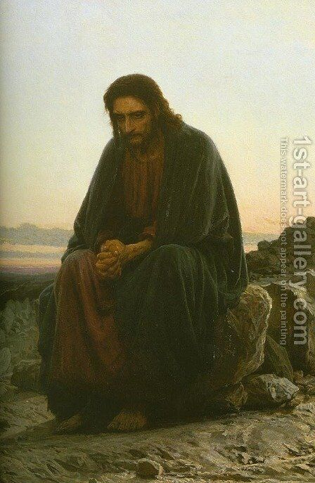 Christ In The Wilderness (detail-1) by Ivan Nikolaevich Kramskoy - Reproduction Oil Painting