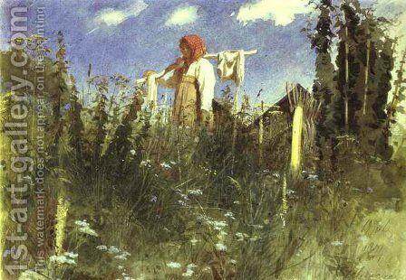 Girl With Washed Linen On The Yoke by Ivan Nikolaevich Kramskoy - Reproduction Oil Painting