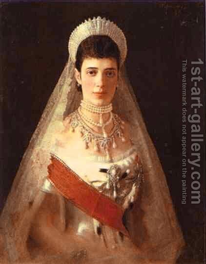 Portrait Of The Empress Maria Feodorovna by Ivan Nikolaevich Kramskoy - Reproduction Oil Painting