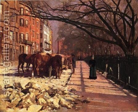 Beacon Street  Boston by Theodore Robinson - Reproduction Oil Painting