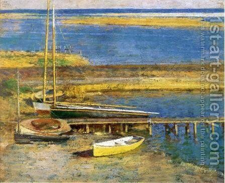 Boats At A Landing by Theodore Robinson - Reproduction Oil Painting