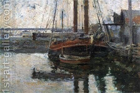Coal Schooner Unloading by Theodore Robinson - Reproduction Oil Painting