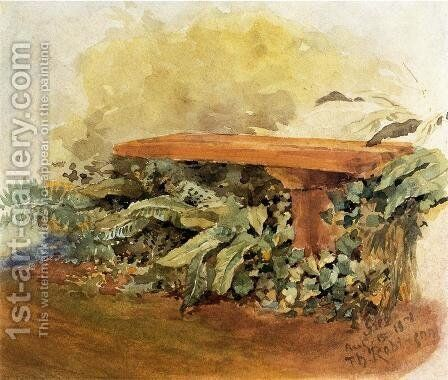 Garden Bench With Ferns by Theodore Robinson - Reproduction Oil Painting