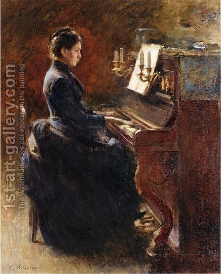 Girl At Piano by Theodore Robinson - Reproduction Oil Painting