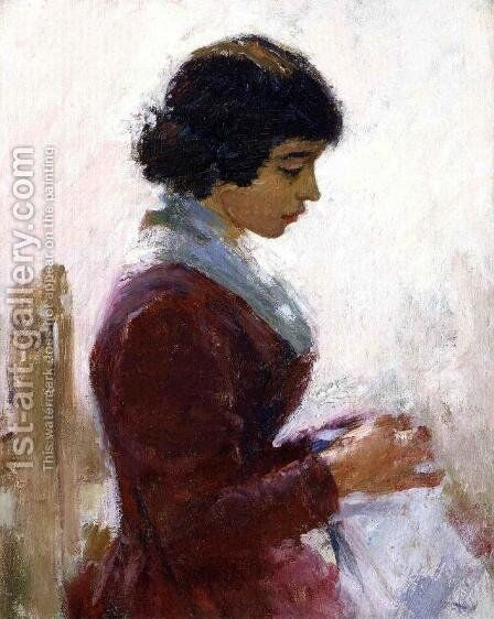 Girl In Red  Sewing by Theodore Robinson - Reproduction Oil Painting