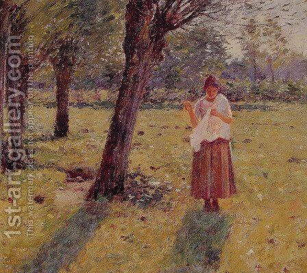 Girl Sewing by Theodore Robinson - Reproduction Oil Painting