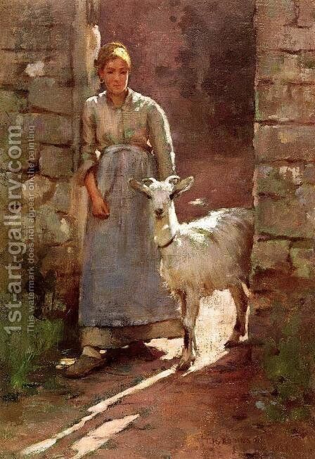 Girl With Goat by Theodore Robinson - Reproduction Oil Painting