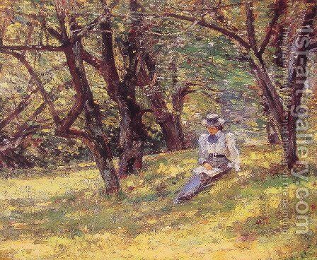 In The Orchard by Theodore Robinson - Reproduction Oil Painting
