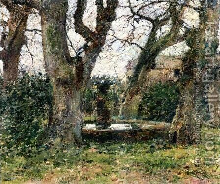 Italian Landscape With A Fountain by Theodore Robinson - Reproduction Oil Painting