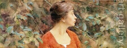 Lady In Red by Theodore Robinson - Reproduction Oil Painting