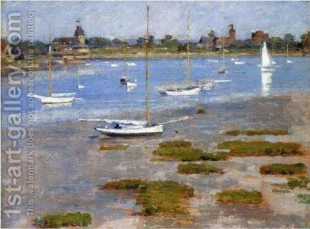 Low Tide  The Riverside Yacht Club by Theodore Robinson - Reproduction Oil Painting