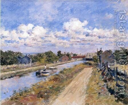 On The Canal (of Port Ben Series) by Theodore Robinson - Reproduction Oil Painting