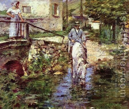 Pere Trognon And His Daughter At The Bridge by Theodore Robinson - Reproduction Oil Painting