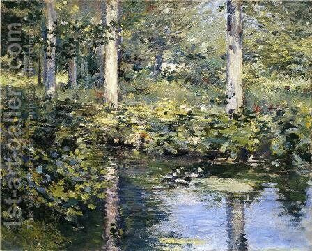 The Duck Pond by Theodore Robinson - Reproduction Oil Painting