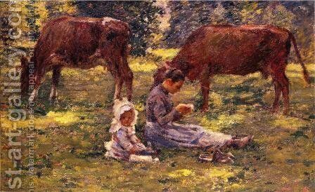 Watching The Cows by Theodore Robinson - Reproduction Oil Painting
