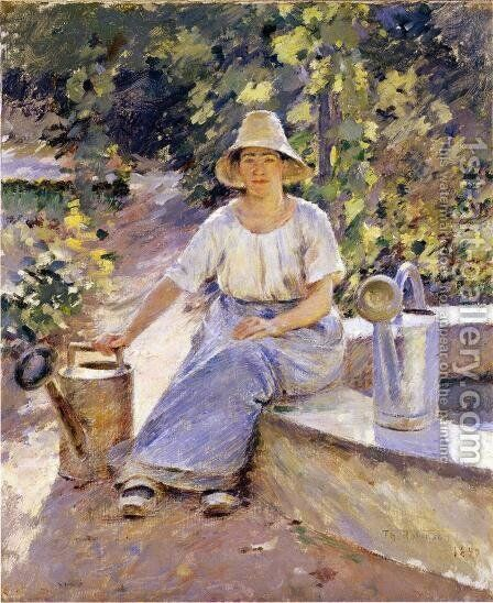 Watering Pots by Theodore Robinson - Reproduction Oil Painting