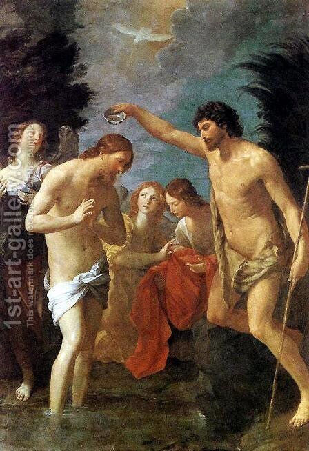 Baptism of Christ c. 1623 by Guido Reni - Reproduction Oil Painting