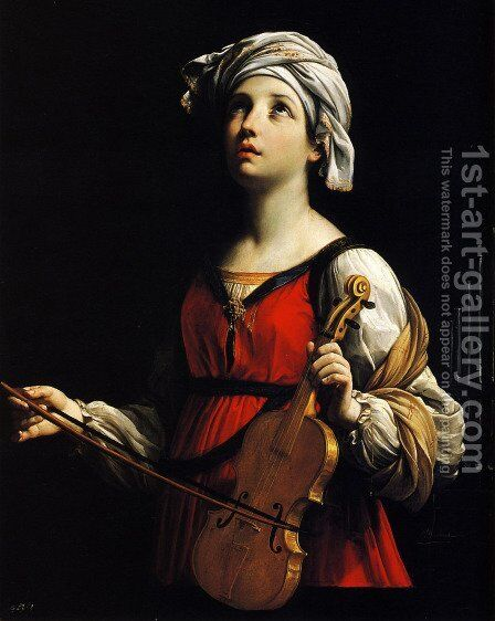 St Cecilia 1606 by Guido Reni - Reproduction Oil Painting