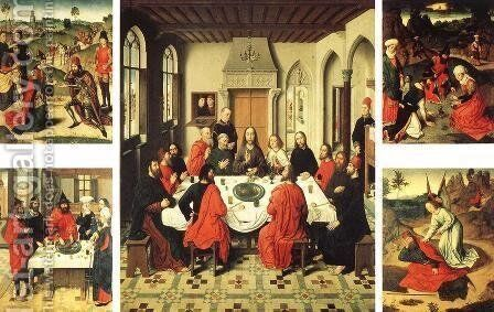 Altarpiece of the Holy Sacrament 1464-67 by Dieric the Elder Bouts - Reproduction Oil Painting