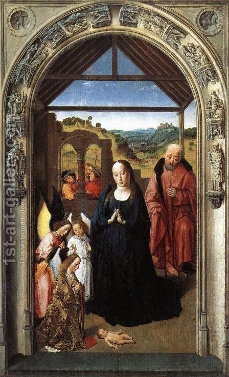 Nativity c. 1445 by Dieric the Elder Bouts - Reproduction Oil Painting
