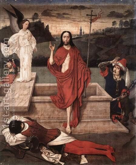 Resurrection 1450-60 by Dieric the Elder Bouts - Reproduction Oil Painting