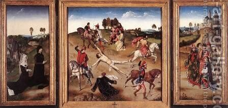 St Hippolyte Triptych after 1468 by Dieric the Elder Bouts - Reproduction Oil Painting