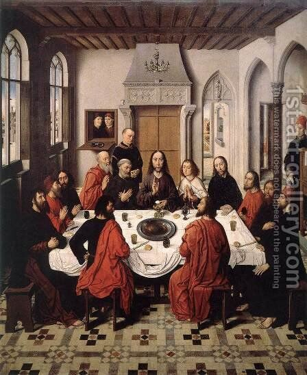 The Last Supper 1464-67 by Dieric the Elder Bouts - Reproduction Oil Painting