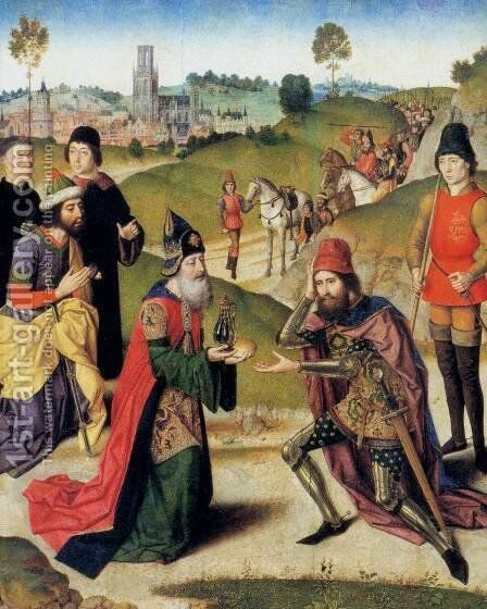 The Meeting of Abraham and Melchizedek 1464-67 by Dieric the Elder Bouts - Reproduction Oil Painting