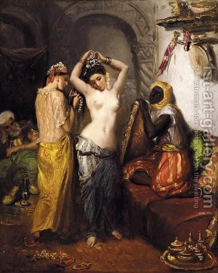 Orientalist Interior 1850-52 by Theodore Chasseriau - Reproduction Oil Painting