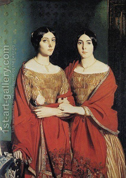 The Artist's Sisters 1843 by Theodore Chasseriau - Reproduction Oil Painting